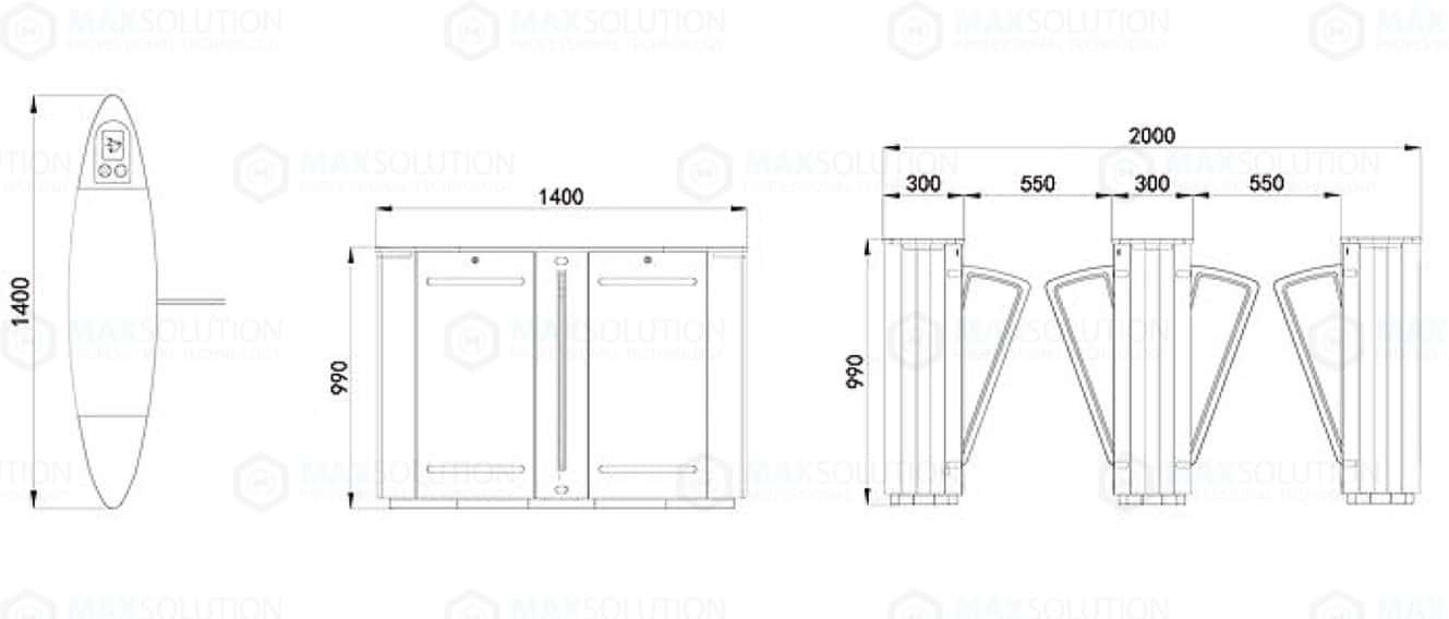 EFG-800 Flap Gate ประตูกั้นไฟฟ้าแบบปีกผีเสื้อ Dimension